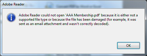 Adobe Error Message